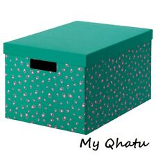 "IKEA Tjena Storage box with lid, green dotted  9 3/4"" x 13 3/4"" x 7 3/4"" New"