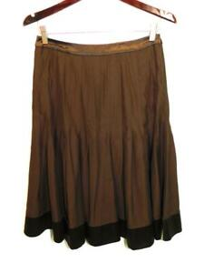 J Crew Size 4 S Dark Brown Silk Skirt Pleated A Line Midi Side Zip Office Party