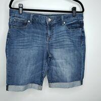 a.n.a Bermuda Jean Shorts Size 12P / 31  Ann Taylor Denim Casual Cuffed Mid Rise