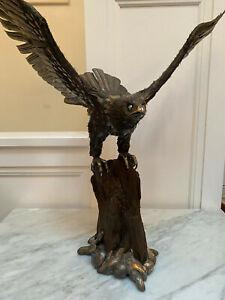 Buccellati - Solid Silver Eagle on Petrified Wood - Rare