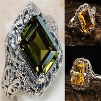 925 Silver Filled Citrine Wedding Women Men Jewellery Rings Vintage Gift #6-10