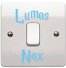 BABY BLUE Harry Potter Style Font Lumos Nox Light Switch Sticker (PACK of 2)