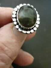 Trendy Rainbow Labradorite 925 STERLING SILVER Sf LADYS RING SIZE 8 us