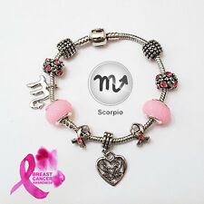 SCORPIO Silver Zodiac Purple Black Pink Murano Breast Cancer Ribbon Bracelet