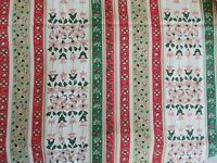 Vintage New old Stock Colorful Retro Cotton Fabric Floral Stripe Folk Art 1yd