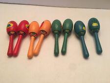 "Mini Wooden Maracas Lot of 8 Fiesta 5"" Colored Shakers"