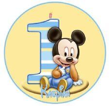 Baby Mickey 1st Cumpleaños Glaseado Hoja Toppers, Redondo precortadas