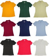 French Toast School Uniform Big Girls Plus Short Sleeve Stretch Pique Polo