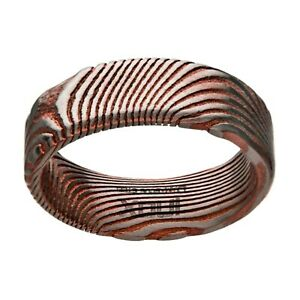 INOX 316L Stainless Steel Damascus 7mm Rose Gold Accent Men's Wedding Band Ring