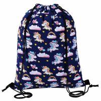 BLUE MAGICAL UNICORN DRAWSTRING BAG Dance School Gym Swim PE Shoulder Backpack