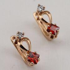 Classy Nice Red Garnet Fashion Jewelry Gift Gold Filled Huggie Earrings er1297