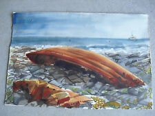 Original Watercolor Painting of  Deserted Boat on Rocks LOOK