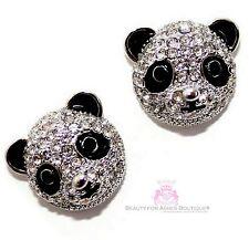 Teddy Silver Black White Panda Bear Animal Enamel Cz Cubic Zirconia Earrings