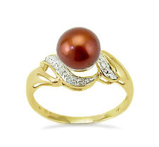14K Pearl Ring - 14K Yellow Gold Chocolate Pearl & Diamond Accent Ring .05ct