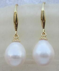 Gorgeous AAAA 10.1x12mm South Sea White Pearl Earrings 14K Yellow Gold