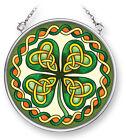 AMIA STAINED GLASS SUNCATCHER CELTIC IRISH SHAMROCK  3.5
