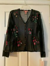 NEW BANDOLINO Blouse Size 14 Sheer Black Embroidered Top Long Sleeve NWT
