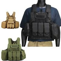 Military Tactical Vest Loaded Gear Molle Plate Carrier Multi-Function Chest Rig