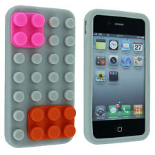 Gray Lego Silicone Skin Case Cover for iPhone 4 / 4S