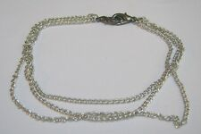 Lovely triple lightweight silver tone metal chain necklace unusual clip 30 cm