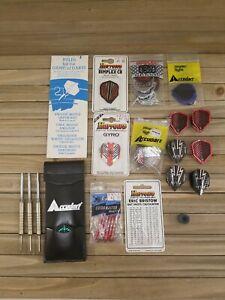Assorted Lot of Vintage Steel Tip Accudart Darts flights leather case shafts 17g