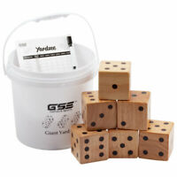 3.5-Inch Giant Wooden Yard Dice Set with Bucket for Outdoor, Backyard Lawn Game