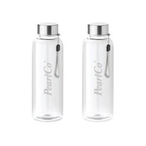PearlCo Zwei Trinkflaschen aus Glas 0,5 Liter mit Neopren-Hülle