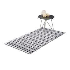Teppich Läufer Flur 80x200 & 70x140, schwarz-weiß Handarbeit Baumwolle gewebt