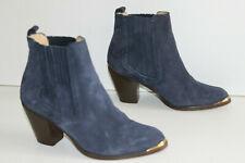 COLISEE Paris Bottines boots Daim bleu jean Doublées Cuir T 38 TBE