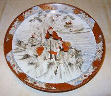 Grand plat en porcelaine Kutani Meji périod XIXe Samourai paysage de neige