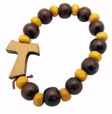 Tau Cross of Saint Francis Wooden Beads Rosary Bracelet Christian Fashion