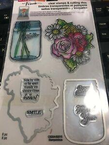 Mason Jar & Flowers Stampendous Clear Stamp & Die Cut Set CSD04 NEW!
