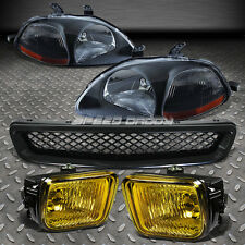 FOR 96-98 CIVIC BLACK HEADLIGHT AMBER CORNER+YELLOW BUMPER FOG LAMP+MESH GRILLE