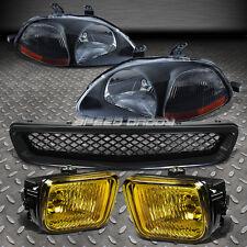 FOR 96-98 CIVIC BLACK HEADLIGHT AMBER CORNER+YELLOW BUMPER FOG LAMP+MESH GRILLE