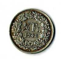 Moneda Suiza 1948 B 1/2 medio franco suizos plata .835 silver coin Helvetia