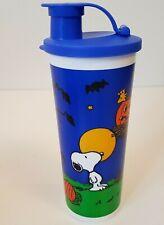 Tupperware Halloween Peanuts Snoopy Plastic Tumbler Drinking Glass Flip Top NEW