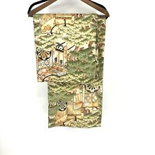 Vintage Chinese Yardage Fabric Embroidered Tapestry Panels Forest Asian Scene