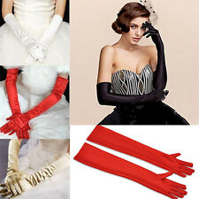 Women Stretch Satin Long Gloves Opera Wedding Bridal Party Prom Costume Mittens