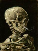 "Vincent van Gogh, antique, Skeleton Smoking, 20""x16"" Art Print- 1886"