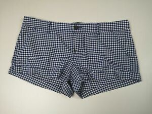 WOMENS CHECKED BLUE ABERCROMBIE & FITCH SHORTS WHITE BOOTY HOT PANTS SIZE UK 12