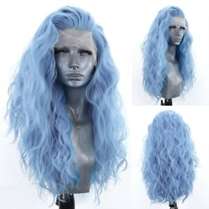24inch Synthetic hair Lace front wigs Full Head Light Blue Long Wavy Handtied