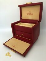 OMEGA Super Rare Vintage Watch Box genuine Red Leather Authentic P69