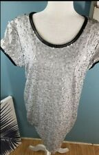 VICTORIA SECRET Small Petite Sequin Shirt Tunic Dress Silver & Black 5% Stretch