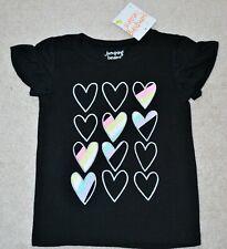 Jumping Beans Girls' Black Rainbow Hearts Short Sleeves T-Shirt - Size 4