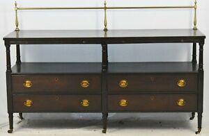 KITTINGER Mahogany Sideboard Serving Table Brass Gallery Williamsburg Style