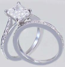 Split Shank Bridal Set Engagement Ring 3ct Princess Diamond 14k White Gold Over