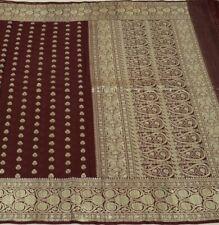 Vintage Saree 100% Pure Silk Silver Zari Woven Banarasi Brocade Sari Fabric