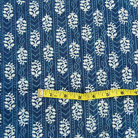 5 Yards Indian Hand Block Print 100% Cotton Fabric Indigo Blue Printed FabricA3
