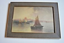Vintage litho/watercolor or pastel painting Sailboat by PR Koehler (1800-1899)