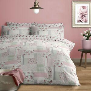 100% Brushed Cotton Modern Patchwork Duvet Cover Set King Bed in Grey & Pink